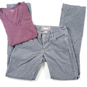 J.Crew Corduroy Bootcut Gray Pants + Madewell Tee